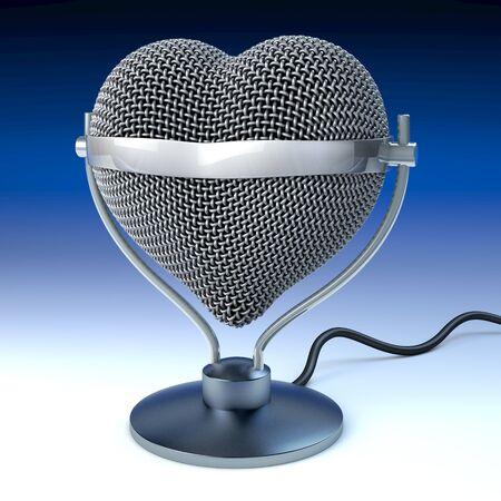 Studio desk microphone in heart shape, in front of dark blue background,  3d rendering photo
