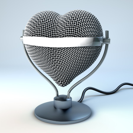 Studio desk microphone in heart shape, in front of light blue, gray background,  3d rendering