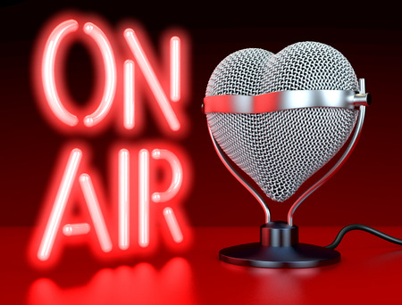 Heart shaped microphones on reflecting, red surface in front of, lateral  to neon sign, letters \On Air\, 3d rendering photo