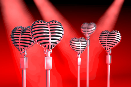 Group of heart shaped classical microphones on tripods in a stage situation, red spot light situation, 3d rendering Stockfoto