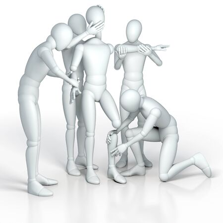 figure out: Team, group of figures building new figure out of single parts, rendering, illustration on white