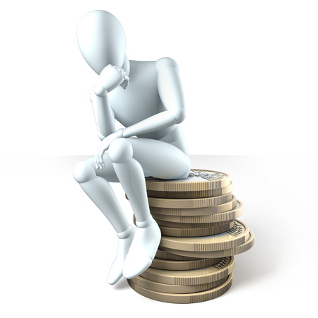 speculating: Man resting on a pile of coins thinking