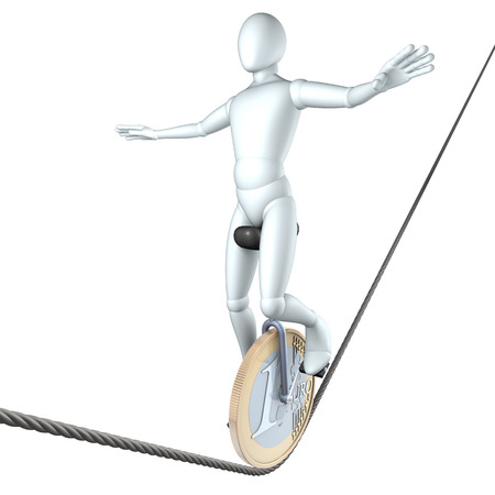 dangerous ideas: Man, figure balancing with a unicycle on a high wire, 3d rendering isolated on white background