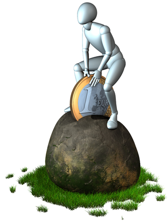 excalibur: Modern european excalibur -  figure trying to draw one euro coin out of a rock, 3d rendering