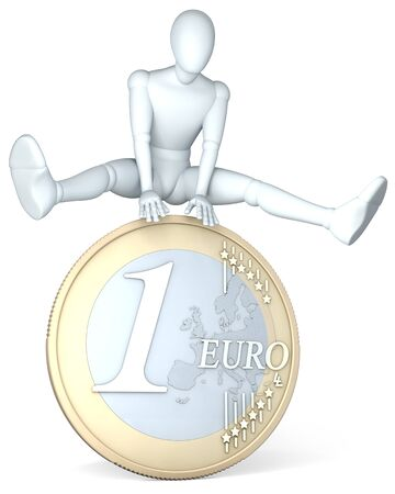 leapfrog: Figure, man jumping over euro coin, illustration, rendering  on white background