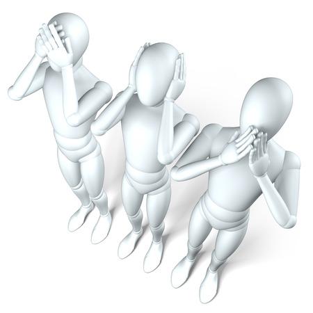 falsity: No see, no hear, no speak - No see, no hear, no speak three  characters in a row on white Stock Photo