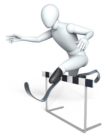 Hurdle racer - Disabled person, figure jumping over hurdle in competition, rendered on white background photo