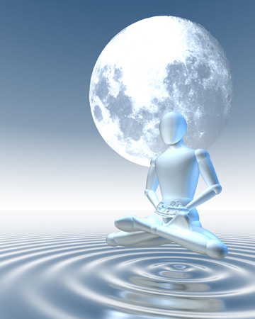 man in the moon: Man meditating under moon hovering over water surface