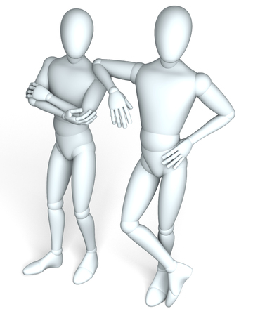 buddies: Buddies - Two figures posing as friends, partners on white background