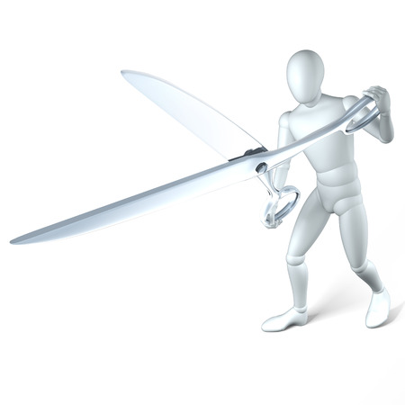 snipping: Man with scissors, snipping in a confronting manner