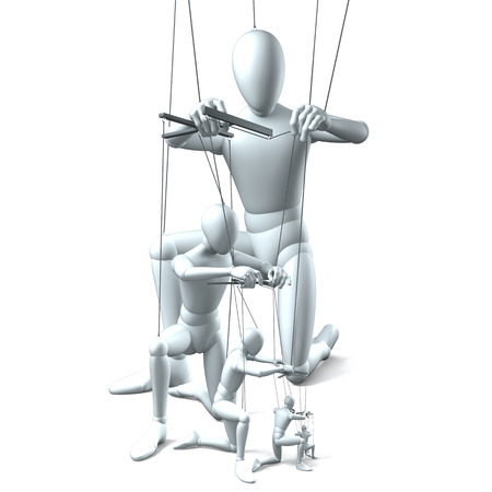 joining forces: Group of marionettes on strings on white
