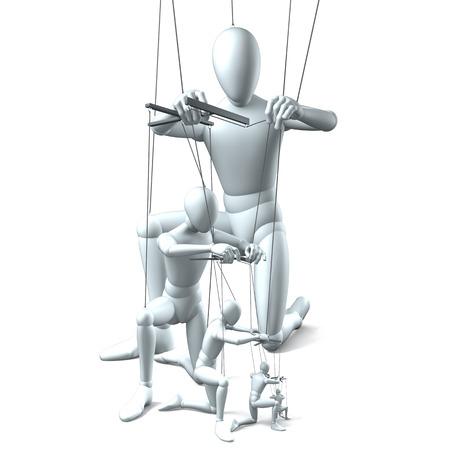 manos unidas: Grupo de marionetas en cadenas en blanco Foto de archivo