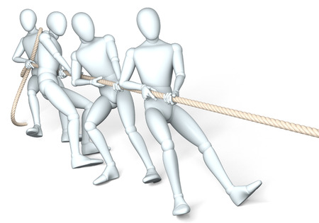 tug: Tug of war - Figures in tug of war, rendering, illustration on white background, isolated