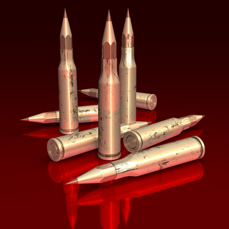 Ammunition, metal bullets partly in shape of red pencils on reflecting, red surface, 3d rendering