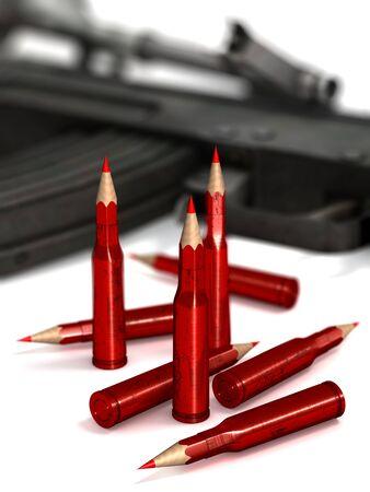 Munitie, metalen kogels in de vorm van rode potloden in de voorkant van wazig wapen, pistool, 3D-rendering Stockfoto