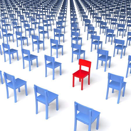 opting: Giant group of blue chairs with one red chair standing in the opposite, wrong direction in centre, regular grid, 3d rendering