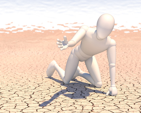 Thirsty man, figure in desert begging for water, rendering, illustration