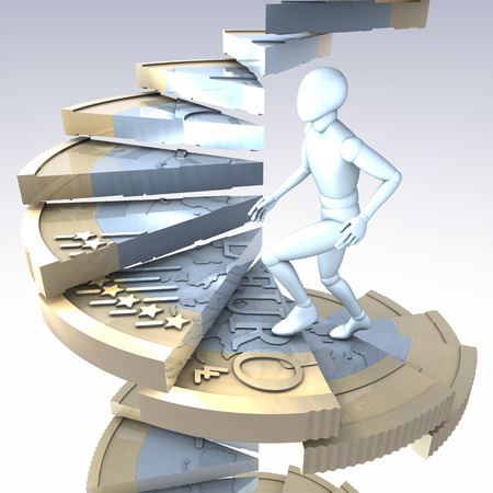 Figure on euro coin stairs -  figure climbing up a winding stairs made of a one euro coin, 3d rendering photo