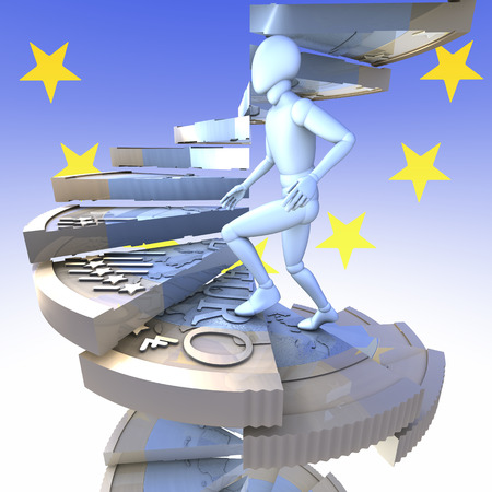 Figure on euro coin stairs 2 -  figure climbing up winding stairs made of a one euro coin, 3d rendering, european union flag, logo background photo