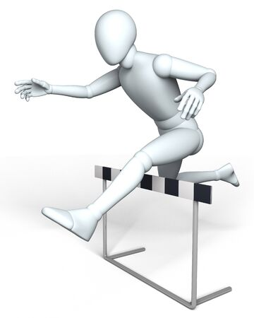 hurdle: Hurdle racer - Person, figure jumping over hurdle in competition, rendered on white background Stock Photo