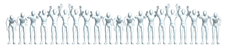 applauding: La Ola - the applause in the stadium wave, frontal Stock Photo