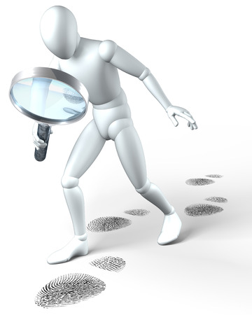 foot steps: Man investigating foot steps wit magnifying glass on white Stock Photo