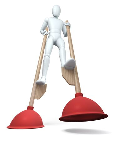 Figure going on plunger stilts, rendering on white background photo