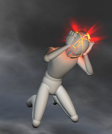 thunderstorms: Migraine, headache on dark background - Figure holding its head, electrifying headache, thunderstorms in the head, migraine