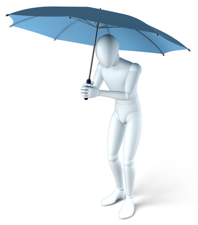 agachado: La figura, el hombre bajo el paraguas, lo que hace, ilustración sobre fondo blanco