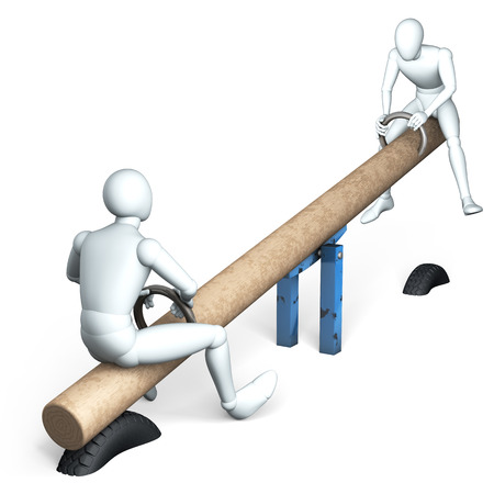 level playing field: Two figures rocking on see-saw, rendering, illustration  on white background