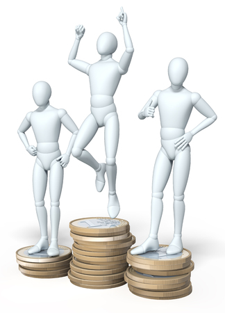 laureate: Three figures, men posing on winner s podium, made up of coins, rendering, illustration  on white background
