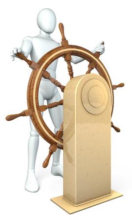 l dynamic: Man, captain turning steering wheel, rendering, illustration on white background