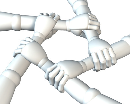 humane: Hands clasping forearms ring, team building, rendering, illustration on white, background