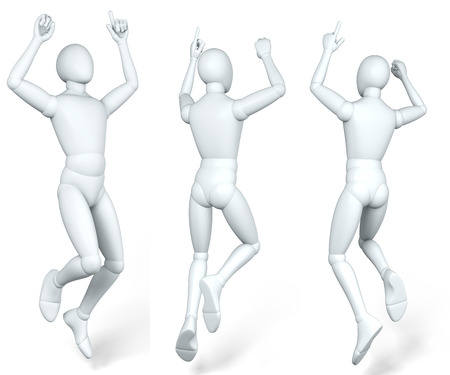 dido: Man, figure jumping up in the air, caper, dido, illustration, rendering, on white background