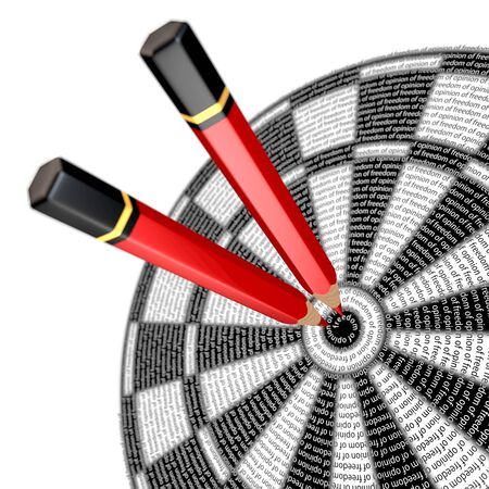 """censoring: Red pencils sticking in center of dart board, centering spiral reads \ """"... opinion of freedom of opinion? \"""", 3d rendering"""