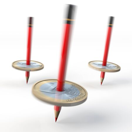 censoring: Red pencils transfixed in euro coins making oscillating pegs, 3d rendering on white surface
