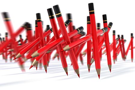 March of red pencils, 3d rendering photo
