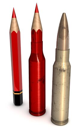 Morph sequence from red pencil, crayon-to-metal bullet, ammunition, 3d rendering on white photo