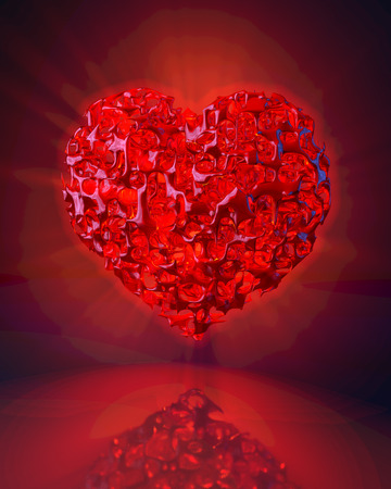 rotten: Rotten, scattered, glowing, red heart over reflecting ground, 3d rendering Stock Photo
