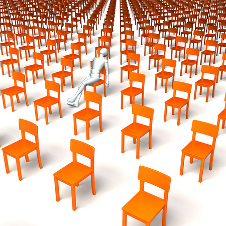 orange chairs: Group of orange chairs, one white figure, character in the middle sleeping, 3d rendering