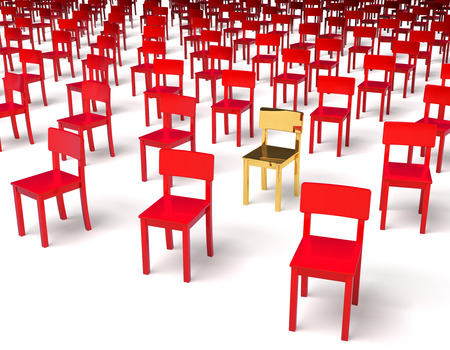 Giant group of red chairs with one golden chair in center, irregular grid, 3d rendering