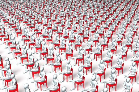 'one woman only': Giant group of red chairs with figures, characters sitting on them, waiting, regular, uniform grid Stock Photo