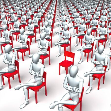 tedious: Giant group of red chairs with figures, characters sitting on them, waiting, regular, uniform grid Stock Photo