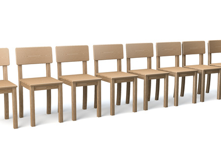 conformist: Row of wooden chairs on white background, conformist, 3d rendering