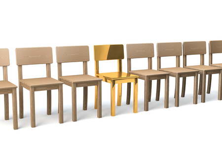 Row of wooden chairs on white background, one golden chair in the middle, 3d rendering