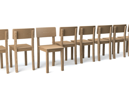 non conformist: Row of wooden chairs on white background, one chair facing viewer, all other chairs turning Their backs, non conformist, 3d rendering Stock Photo