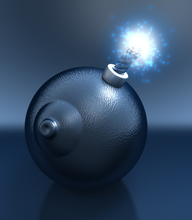 Sex bomb in shape of a breast, glossy, black leather reflecting surface, lit fuse Stock Photo