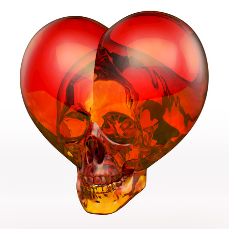Cloudy red and orange glass skull heart