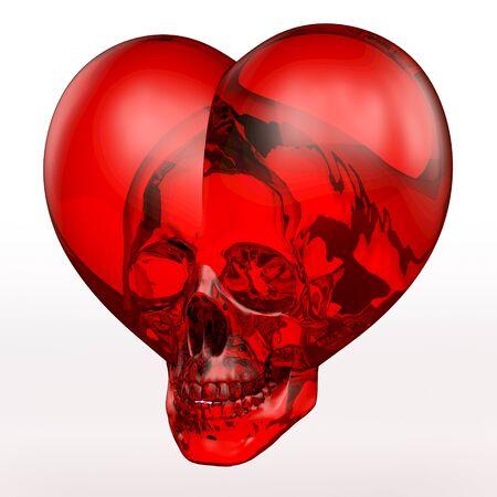 頭蓋骨の深い赤のガラスの心 写真素材