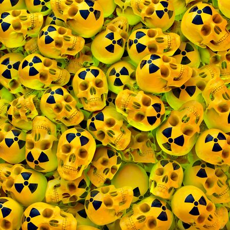Green lit heap, poll of yellow lacquered skulls with black radioactive sign, 3d rendering